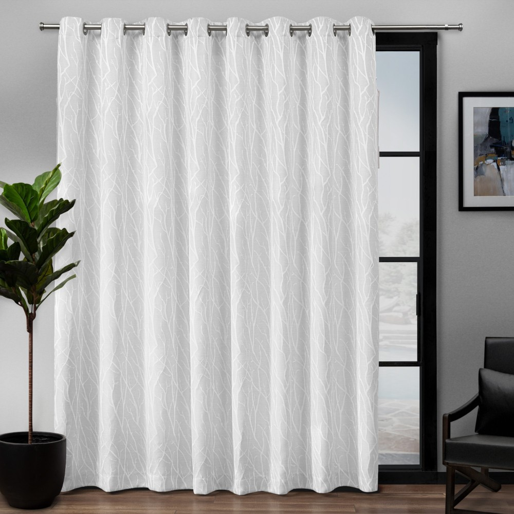 "Image of ""108""""x84"""" Forest Hill Patio Woven Blackout Grommet Top Single Curtain Panel White - Exclusive Home"""