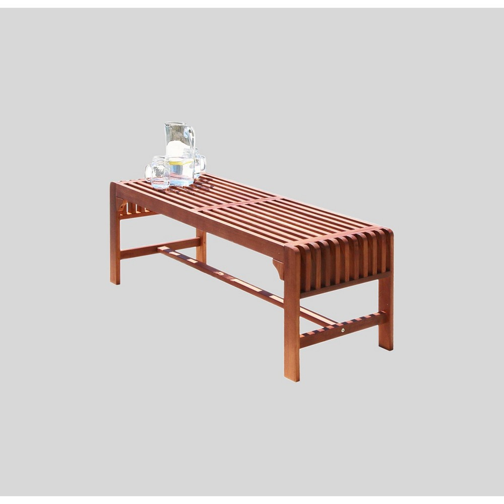 Image of 4ft Wood Backless Garden Patio Bench Brown - Vifah