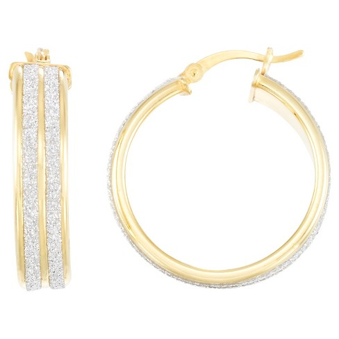 18kt Gold over Silver Double Glitter Hoop Earring-Yellow Gold - image 1 of 1