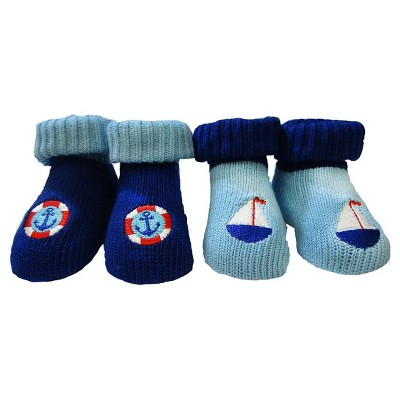 Baby Boys' So'Dorable Sailboat & Anchor 2-Pack Sweater Knit Booties Blue 0-12M