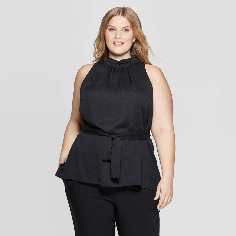 Image of Women's Plus Size Sleeveless Turtleneck Halter Belted Top - Prologue Black 4X, Size: 4XL