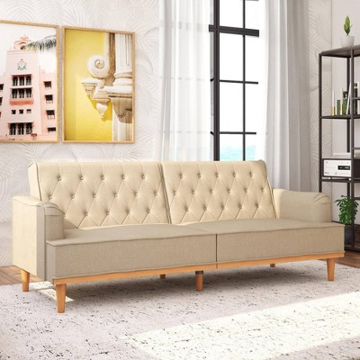Stella Vintage Convertible Sofa Bed Futon Tan Linen - Mr. Kate