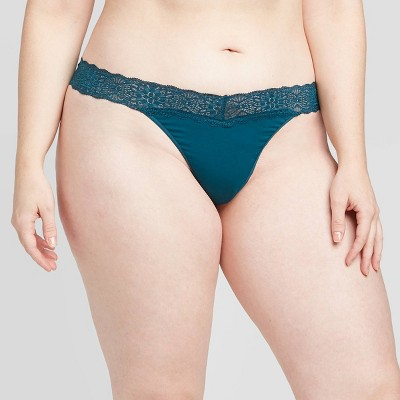 Women's Cotton Thong with Lace Waistband - Auden™