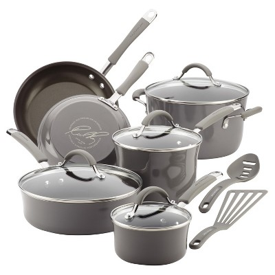 Rachael Ray 12pc Sea Salt Cucina Cookware Set Gray
