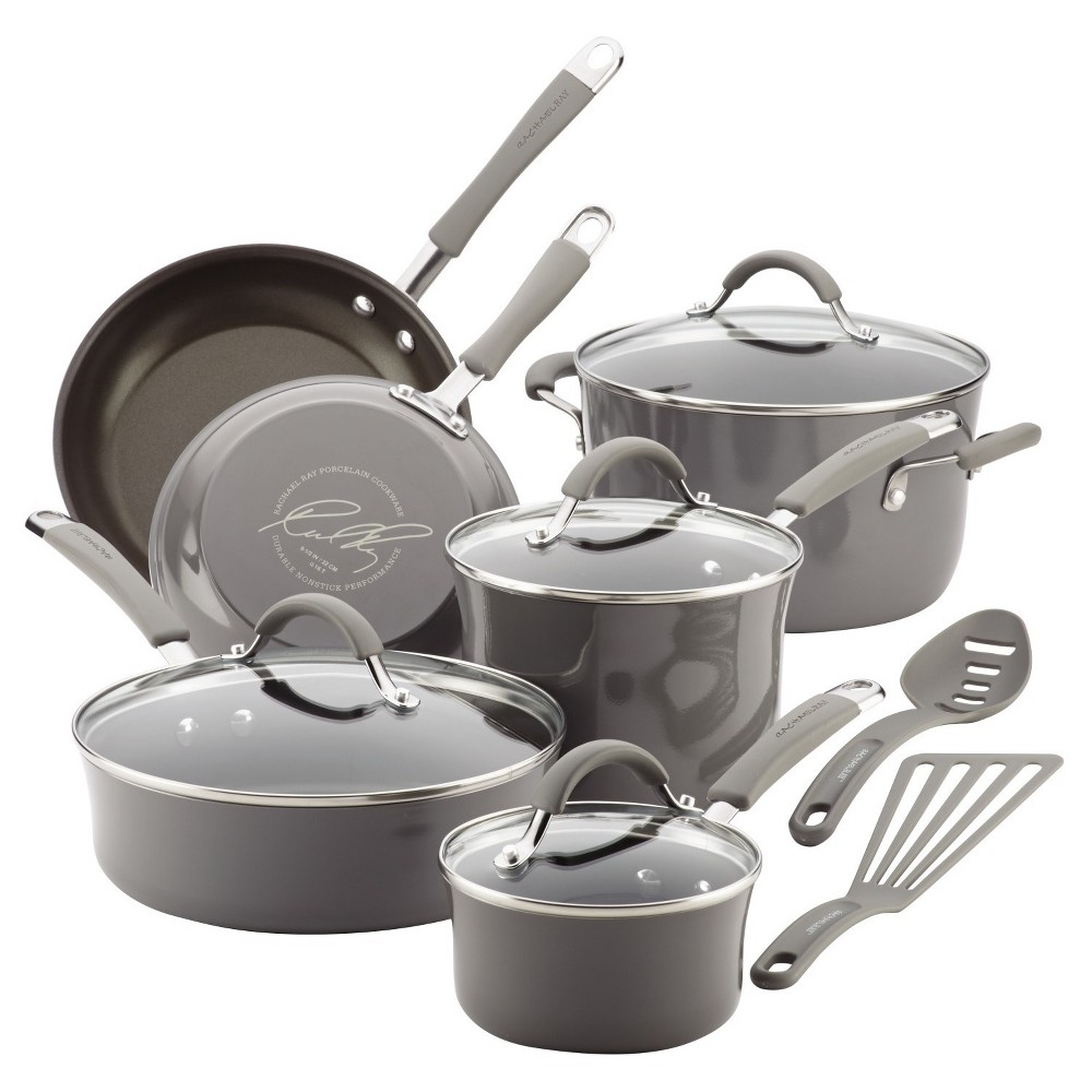 Image of Rachael Ray 12pc Sea Salt Cucina Cookware Set Gray