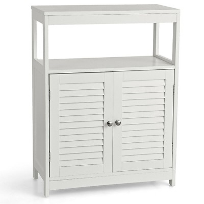 Costway Bathroom Floor Cabinet Free Standing Storage Organizer w/ Double Shutter Doors