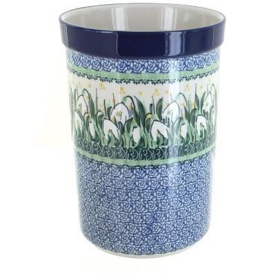 Blue Rose Polish Pottery Snowdrop Utensil Jar