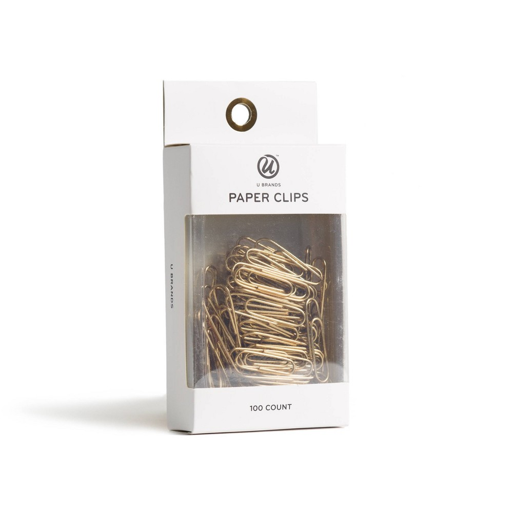 Image of 100ct Paper Clips Gold - UBrands