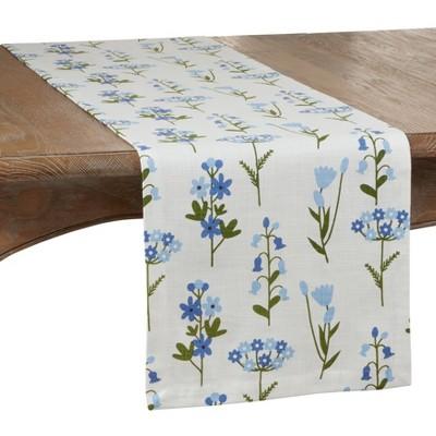 "72"" x 14"" Cotton Floral Table Runner Blue - Saro Lifestyle"