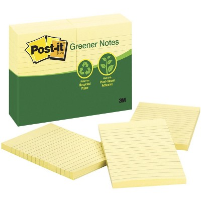 Post-it Lined Recycled Paper Greener Notes, 4 x 6 Inches, Canary Yellow, Pad of 100 Sheets, pk of 12