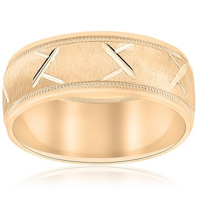 Pompeii3 10k Yellow Gold Mens Wedding Band with Satin Finish and Cuts 8mm