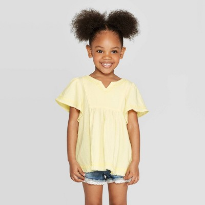 Toddler Girls' Embroidered Blouse - art class™ Yellow 3T
