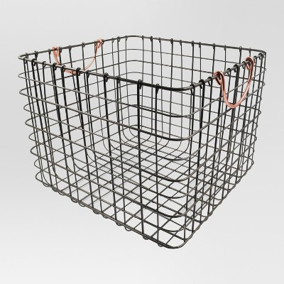 Wire Large Straight Milk Crate - Antique Pewter with Copper Handle - Threshold™