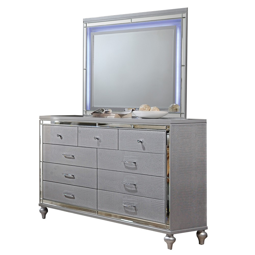 Image of Kelly Dresser And Mirror Set Gray - Home Source Industries
