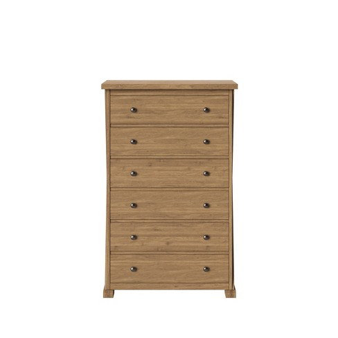Litchfield Farmhouse Wood 6 Drawer Chest Wheat - Threshold™ - image 1 of 3