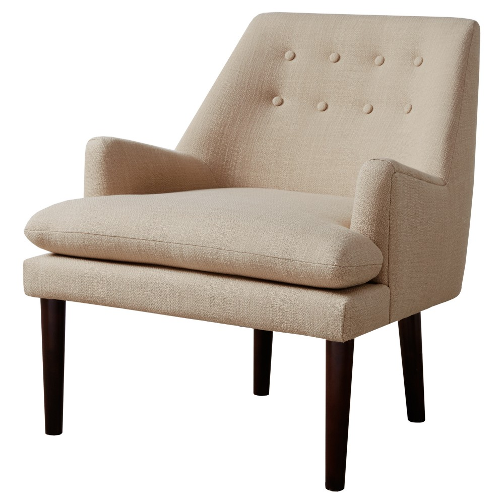 Faith Mid - Century Upholstered Accent Chair is a modern update with its smooth silhouette and inviting shape; the coloring makes for the perfect color coordination to any room. Assembly required. Color: Sand. Pattern: Solid.