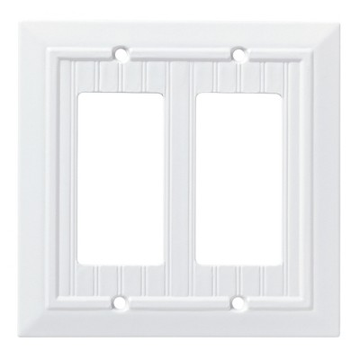 Franklin Brass Classic Beadboard Double Decorator Wall Plate White