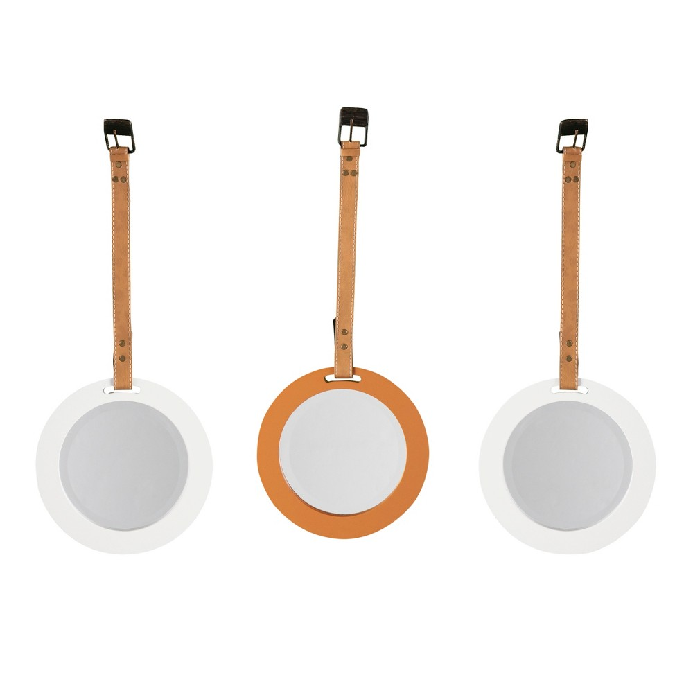 Colby Mirrors with Straps - 3pc Set - White and Sepia - Aiden Lane