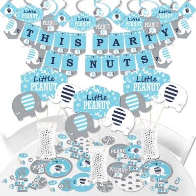 Big Dot of Happiness Blue Elephant - Boy Baby Shower or Birthday Party Supplies - Banner Decoration Kit - Fundle Bundle