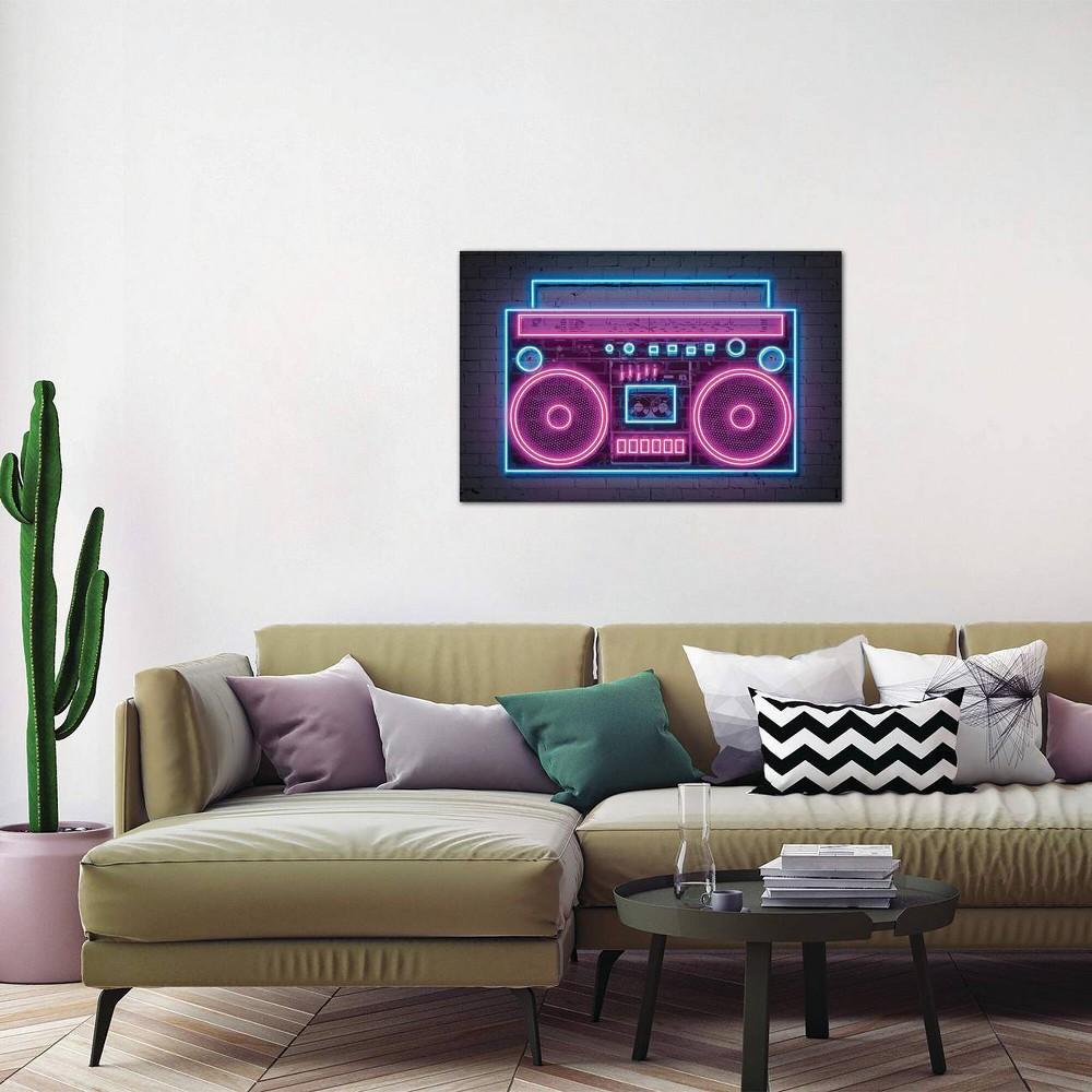 18 34 X 26 34 Boombox Neon By Octavian Mielu Unframed Wall Canvas Print Icanvas