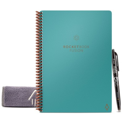 "Fusion Smart Spiral Reusable Notebook 1 Subject No Rule 7 Style 42 Page 6"" x 8.8"" Teal - Rocketbook"