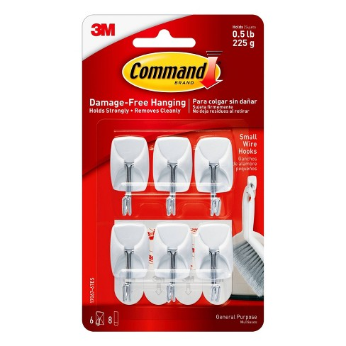 Command Small Sized Wire Hooks Value Pack (6 Hooks 8 Strips) White - image 1 of 3