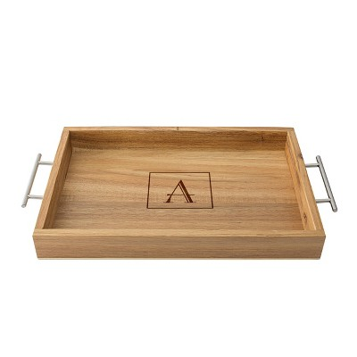 Monogram Acacia Serving Tray with Metal Handles A - Cathy's Concepts