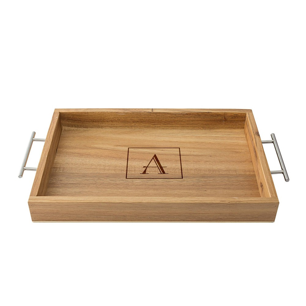 Monogram Acacia Serving Tray with Metal Handles A - Cathy's Concepts, Brown