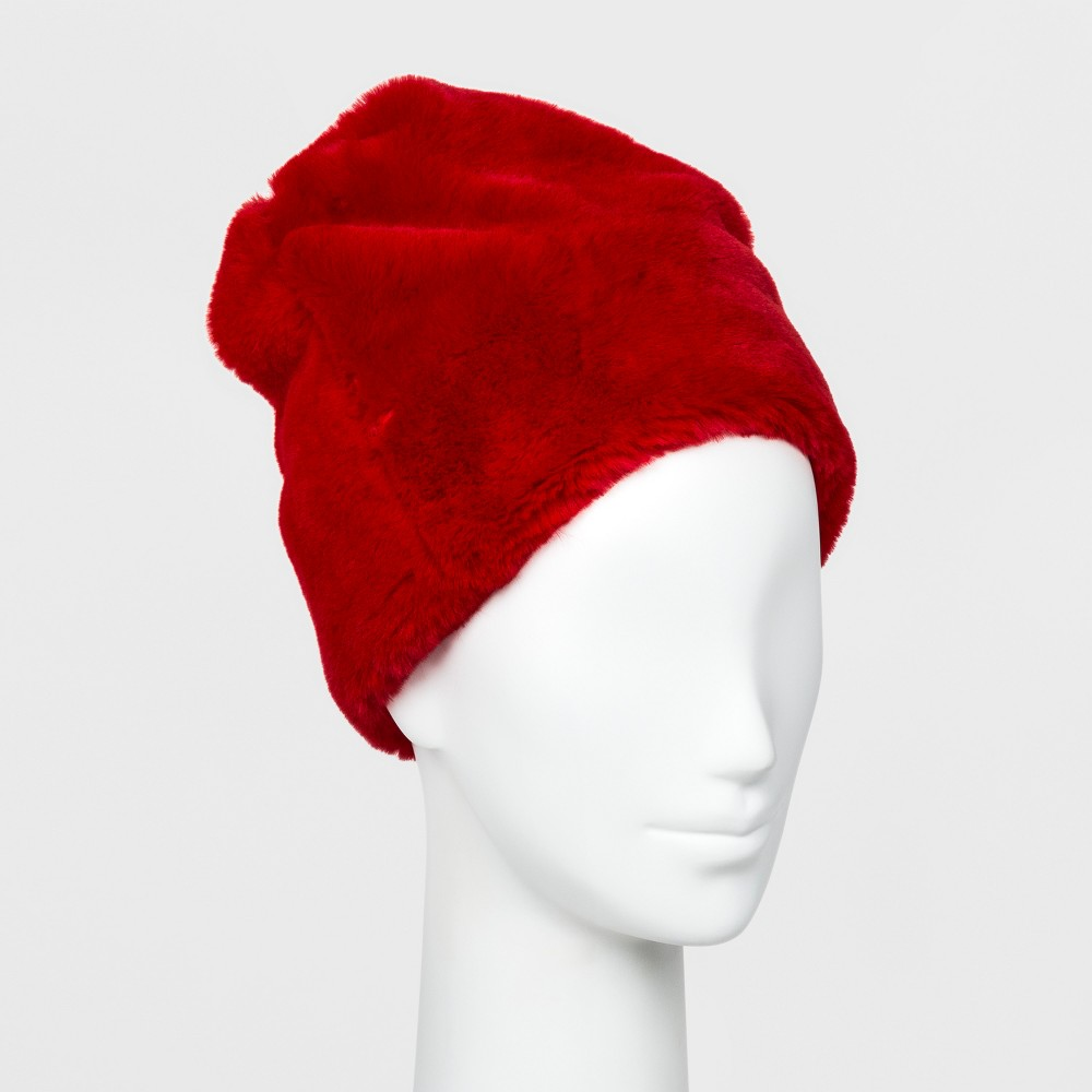 Women's Faux Fur Beanie - Wild Fable Red