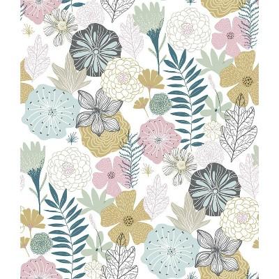 RoomMates Perennial Blooms Peel & Stick Wallpaper