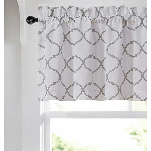 Kate Aurora Shabby Chic White & Gray Trellis Clover Rod Pocket Window Valance - 56 in. W x 15 in. L, White/Gray - image 1 of 2
