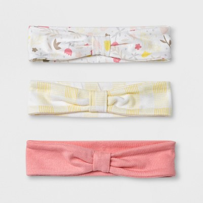Baby Girls' Meadow 3pk Head Wraps - Cloud Island™ Coral 0-6M