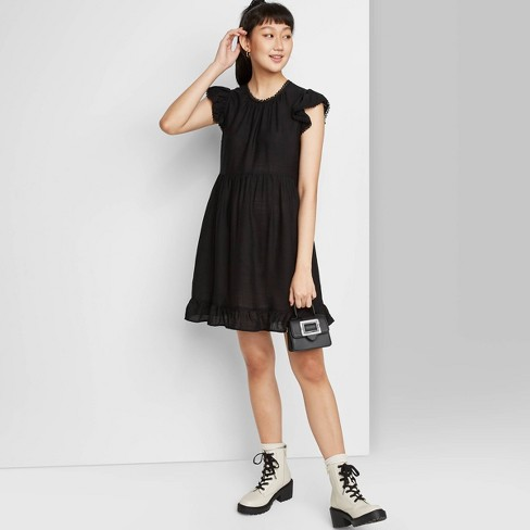 Women's Flutter Short Sleeve Trapeze Dress - Wild Fable™ - image 1 of 4