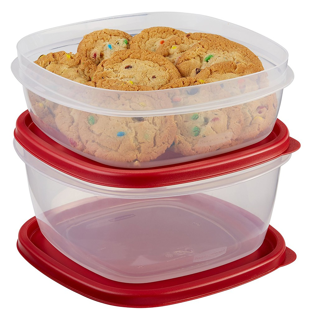 Image of Rubbermaid 4pc Easy Find Lids Food Storage Containers Red