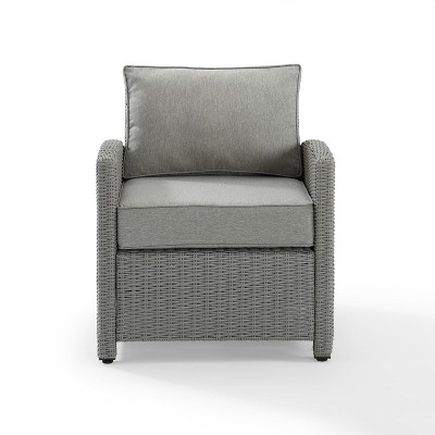 Bradenton Outdoor Wicker Arm Chair with Cushions - Gray - Crosley