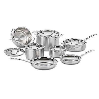 Cuisinart Multiclad Pro 12pc Tri-Ply Stainless Steel Cookware Set - MCP-12N