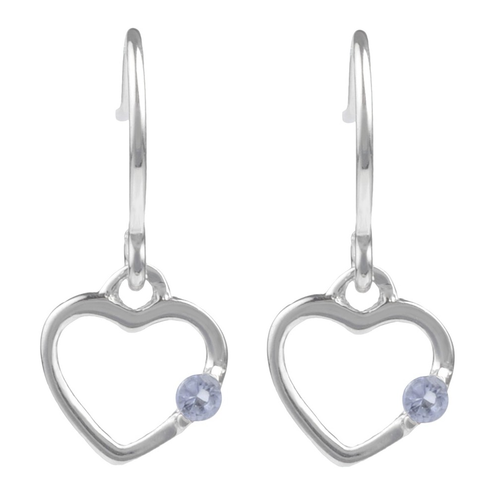 1/10 CT. T.W. Round-cut CZ Heart Dangle Pave Set Earrings in Sterling Silver - Lavender, Girl's