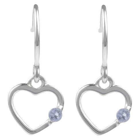 1/10 CT. T.W. Round-cut CZ Heart Dangle Pave Set Earrings in Sterling Silver - Lavender - image 1 of 2