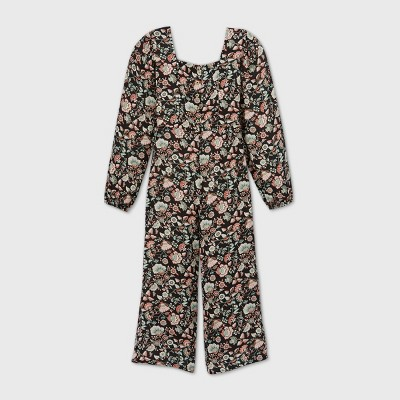 Girls' Button-Front Long Sleeve Jumpsuit - art class™ Black