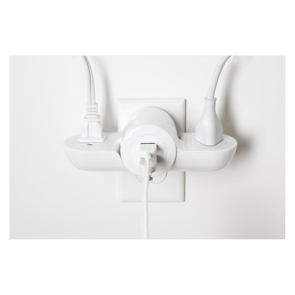 Pivot Power Mini White - Quirky Pivot Power Mini 2.0 is a plug adapter with two electrical outlets that fold into one compact unit. With the addition of two Usb ports and surge protection, you will be able to keep your electronic and Usb chargeable devices safely powered. Color: White.