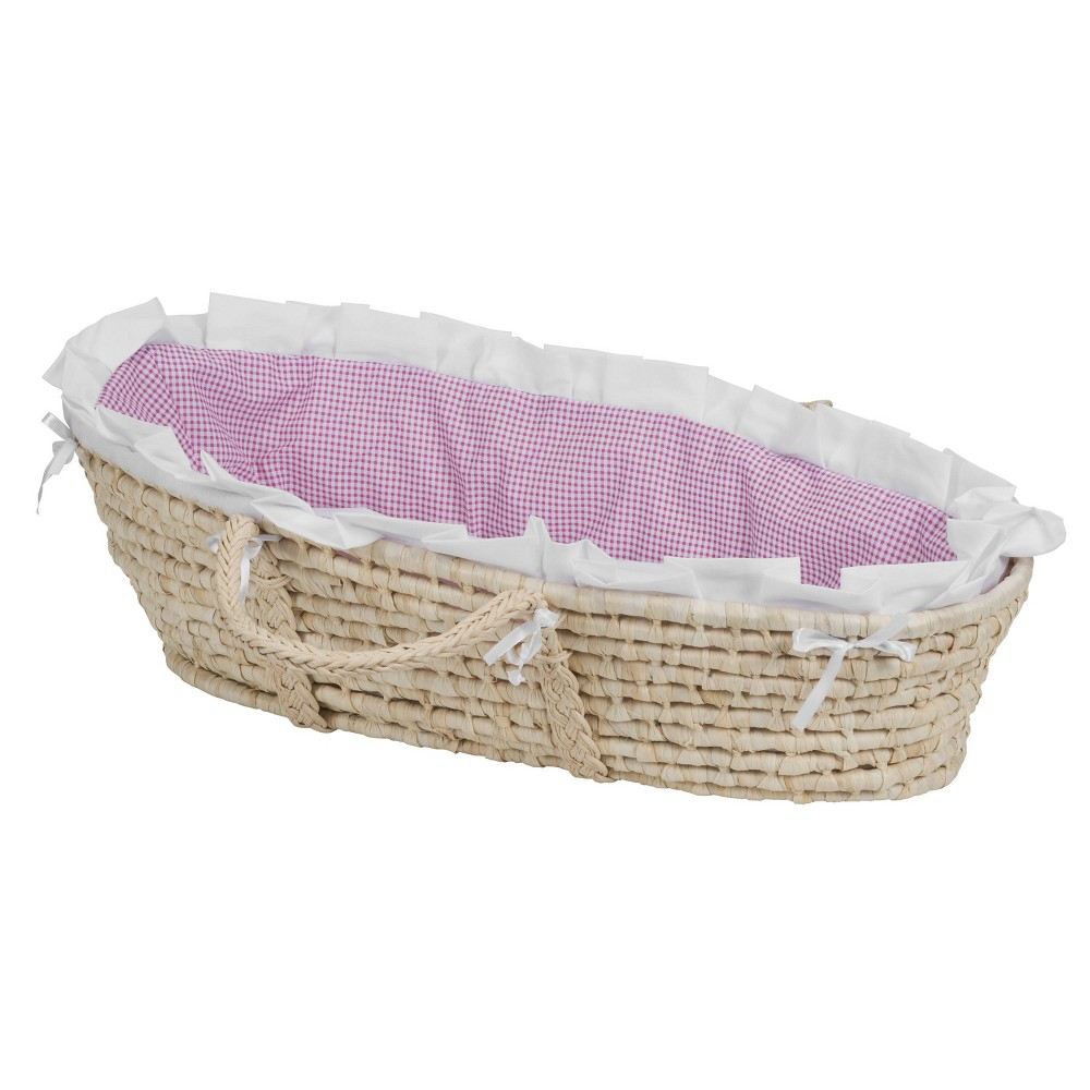 Image of Badger Basket Natural Moses Basket Bedding - Pink Gingham
