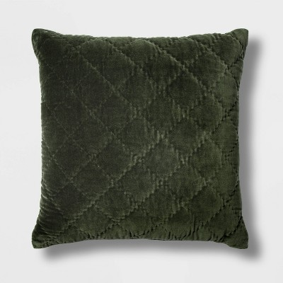 Quilted Velvet Square Throw Pillow Green - Threshold™