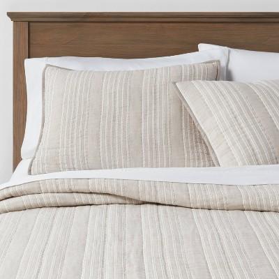 Gray Stitched Stripe Pillow Sham - Threshold™ : Target