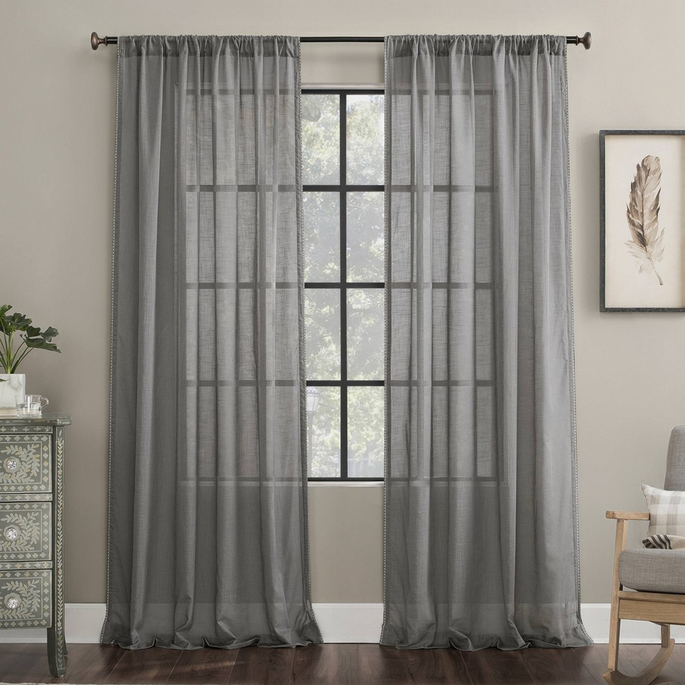 "Image of ""50""""x63"""" Embroidered Border Cotton Sheer Curtain Gray - Archaeo, Size: 50""""x63"""""""