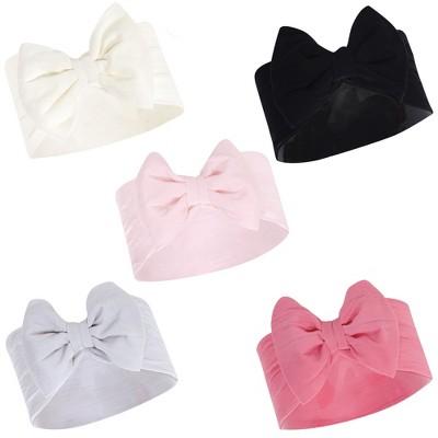 Hudson Baby Infant Girl Headbands 5pk, Cream, 0-24 Months