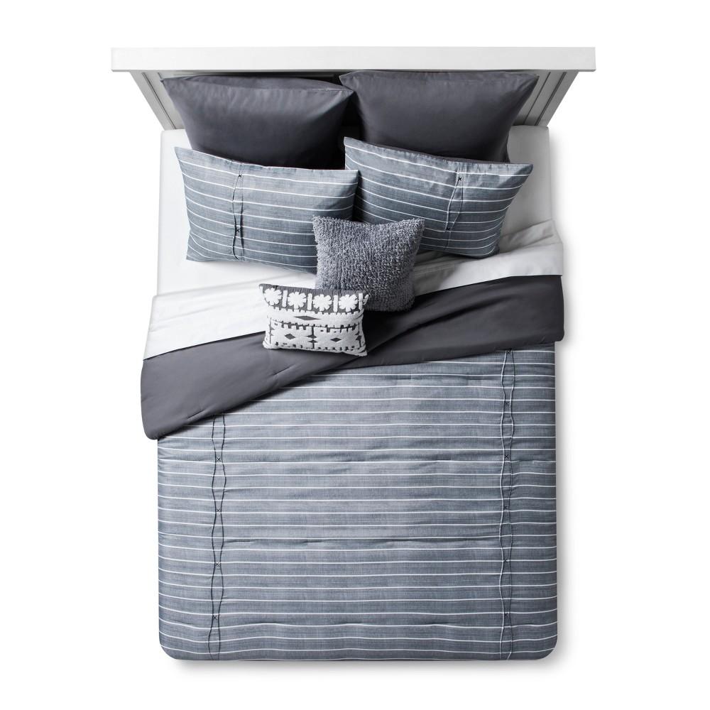 Image of Gray Stripe Roadtrip Comforter Set (King) 8pc