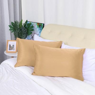 "2 Pcs Standard 20""x26"" Silk Satin with Zipper Pillowcase Gold  - PiccoCasa"
