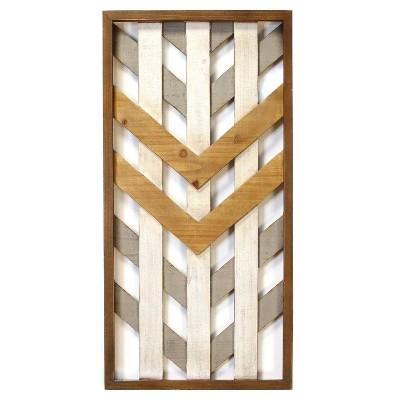 "15.75 x 31 5"" Framed Geometric Wood Wall Panel - Stratton Home Décor"
