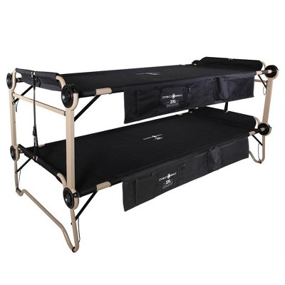 Disc-O-Bed 2XL Cam-O-Bunk Benchable Bunked Organizers Double Camping Cot, Black