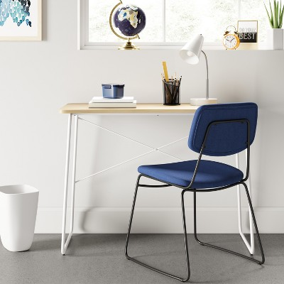 Upholstered Metal Stacking Chair Navy Blue   Room Essentials™ : Target